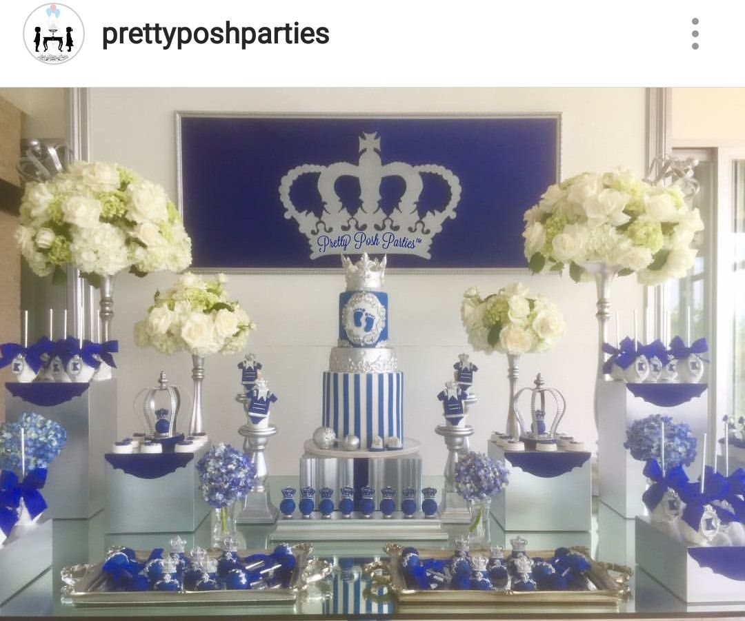 Royal Prince Baby Shower Dessert Table Decor