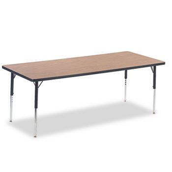 4000 Series Rectangular Activity Table, 30w X 72d X 30h, Medium Oak/chrome