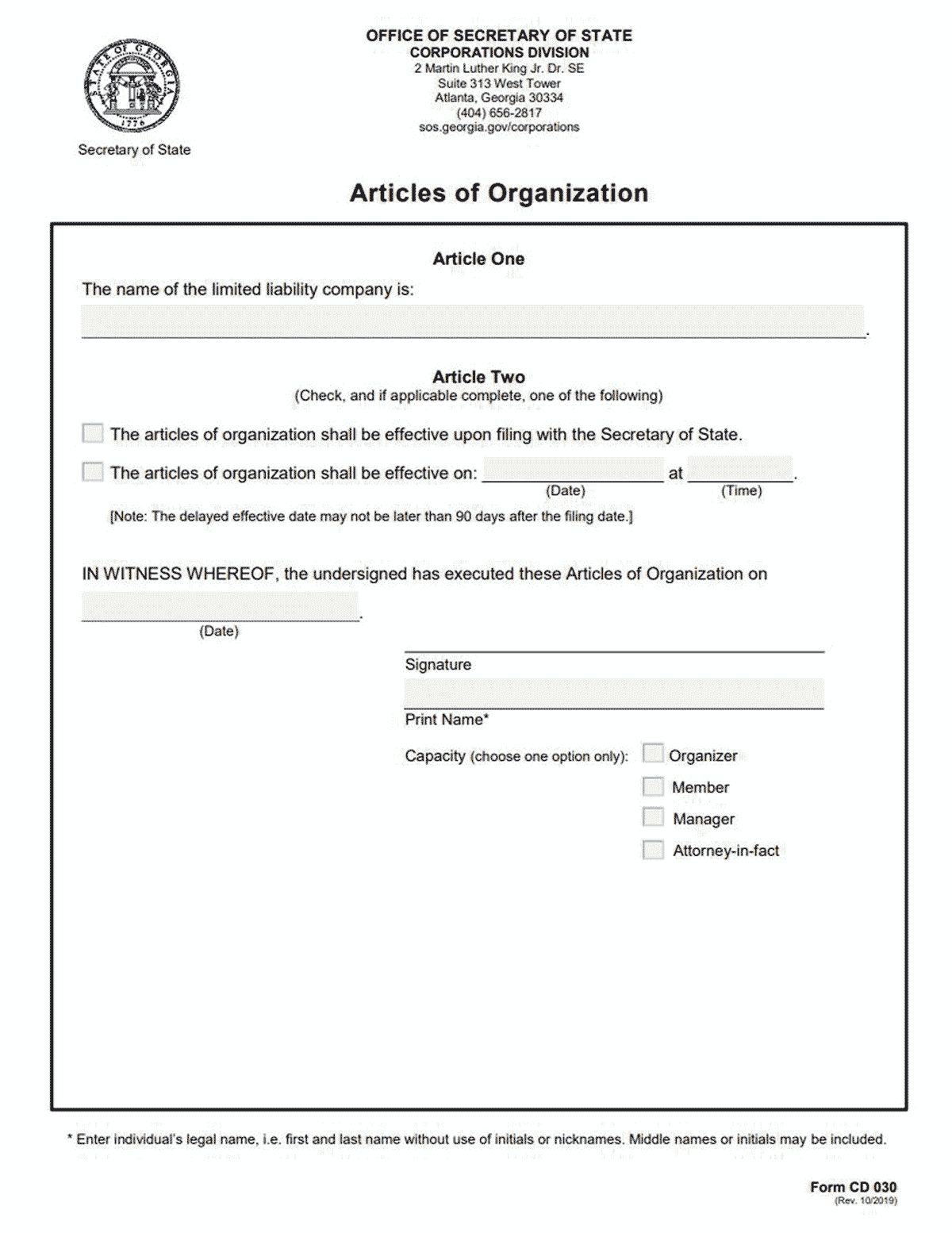 The Interesting Llc Georgia How To Form An Llc In Georgia For Llc Articles Of Organization Template Photograp Best Templates Professional Templates Templates Llc articles of organization template