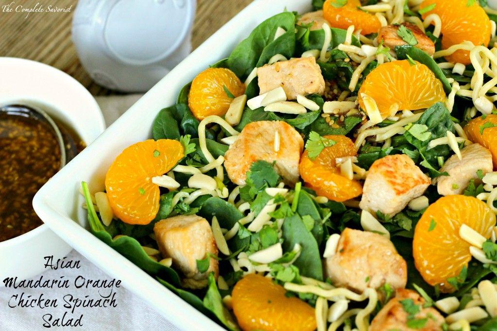 Asian Mandarin Orange Chicken Spinach Salad ~ New twist on the classic mandarin…
