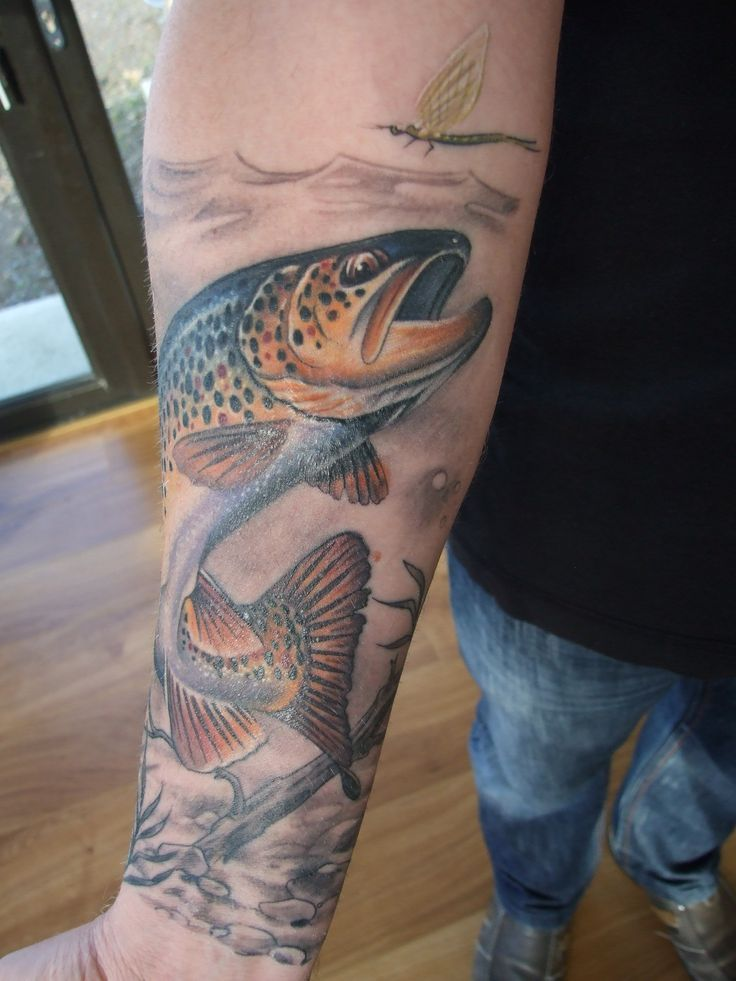 detail of my brown trout tattoo by ian flynn tattoo ideas pinterest. Black Bedroom Furniture Sets. Home Design Ideas