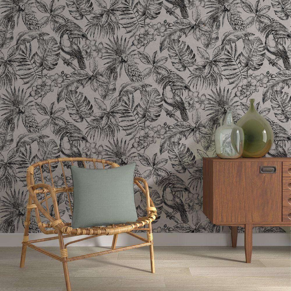 Papier Peint Intisse Jungle Leaf Coloris Lin Idee Deco Interieur Decoration Maison Papier Peint