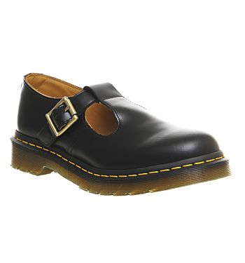 Dr Martens Polley T Bar Shoes Black Leather Flats