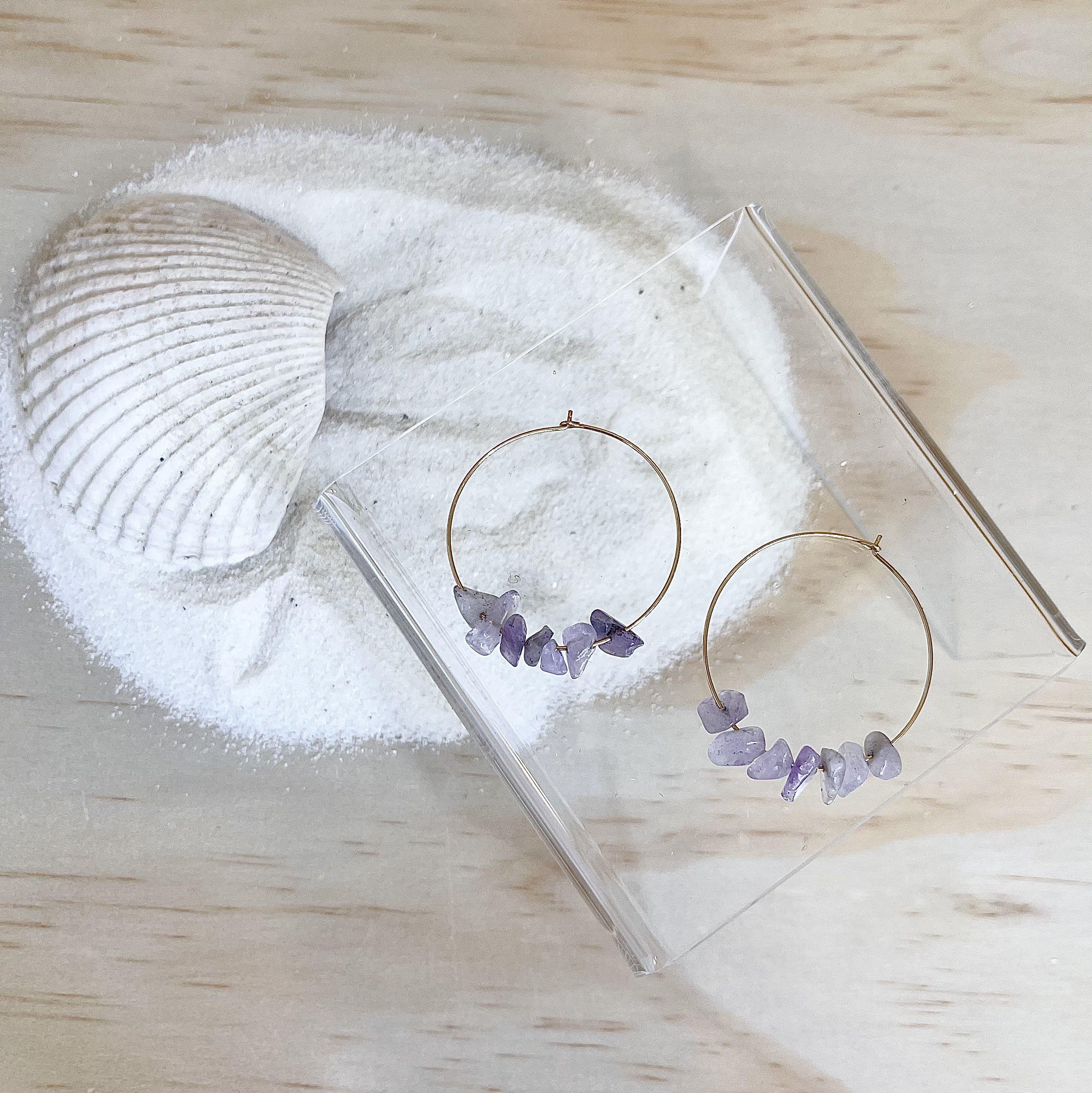 AMETHYST Gold Hoop Earrings