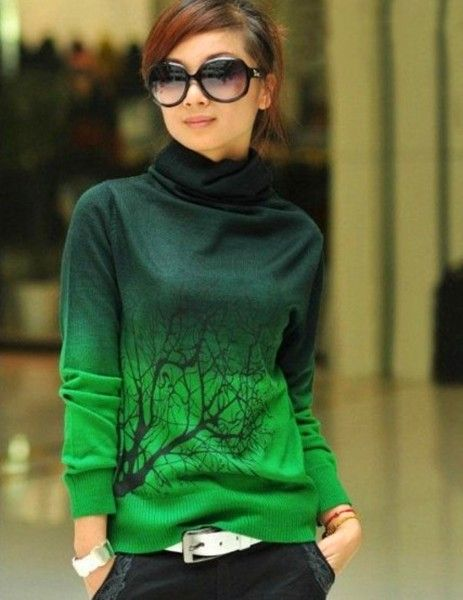 Velvet turtleneck sweater, fashion tie dye green velvet sweater ...