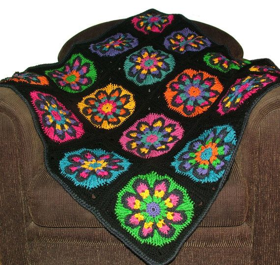 Big Crochet Flower Afghan Rug Blanket Throw Pdf By Rensfibreart