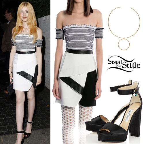 Katherine McNamara posed outside Chateau Marmont in Hollywood wearing Ohne Titel Pre Fall 2016 Top & Skirt (Not available online), the Joolz by Martha Calvo Circle Choker ($148.00) and Jimmy Choo Harrie Platform Sandals ($895.00).