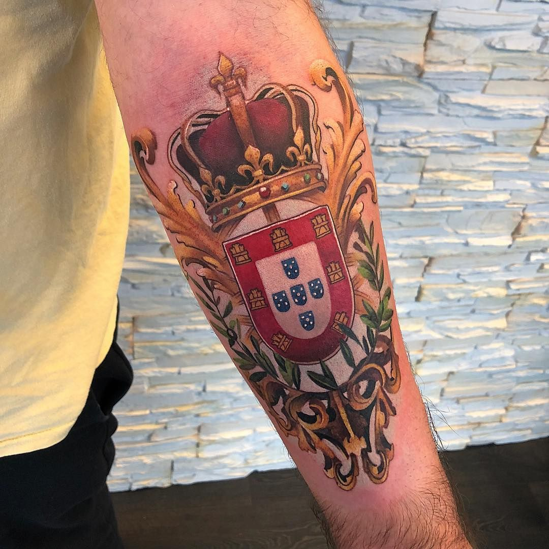 Portugal Tattoo By Christian Boye Larsen Crest Tattoo Tattoos Family Crest Tattoo