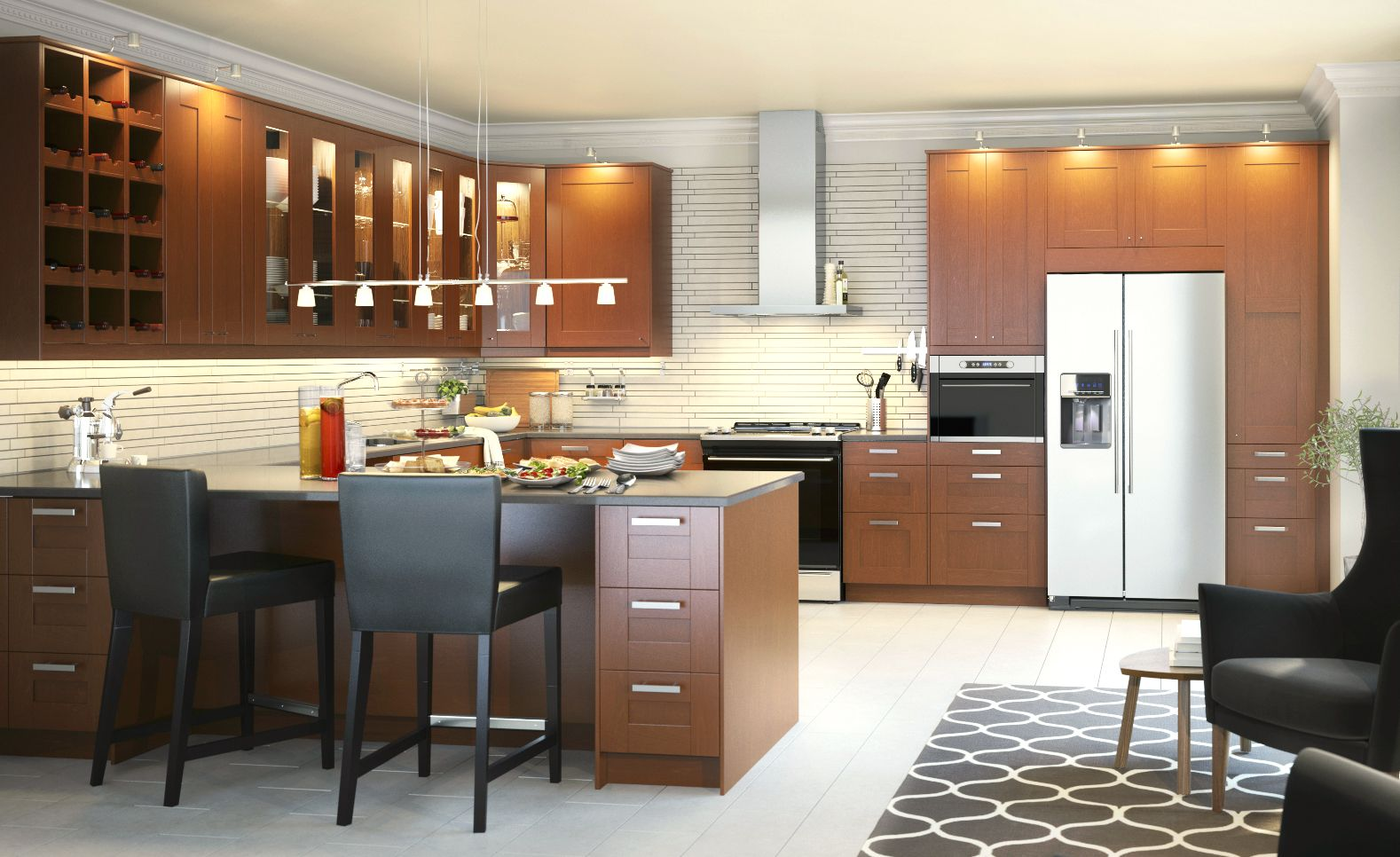 The SEKTION Kitchen With GRIMSLOV Medium Brown Doors Has