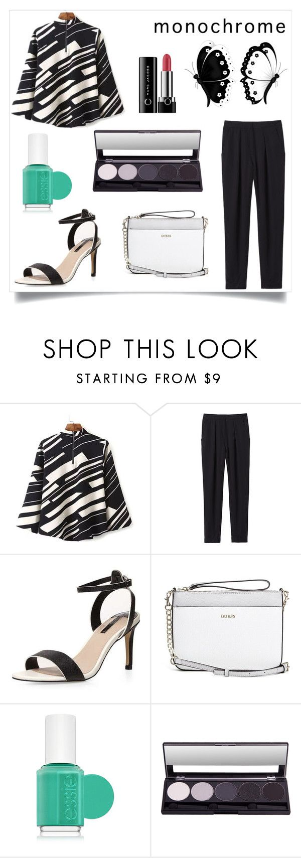 """monochrome 1"" by marvelialauraa on Polyvore featuring Rebecca Taylor, Dorothy Perkins, GUESS, Essie, Marc Jacobs and monochrome"