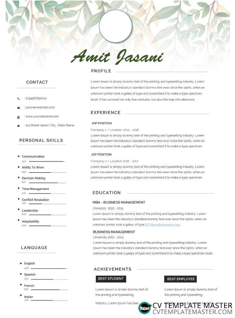 Free Microsoft Word 'Cursive' CV template in docx format
