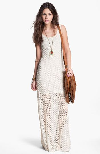 Mimi Chica Half Sheer Crochet Maxi Dress (Juniors) available at ...
