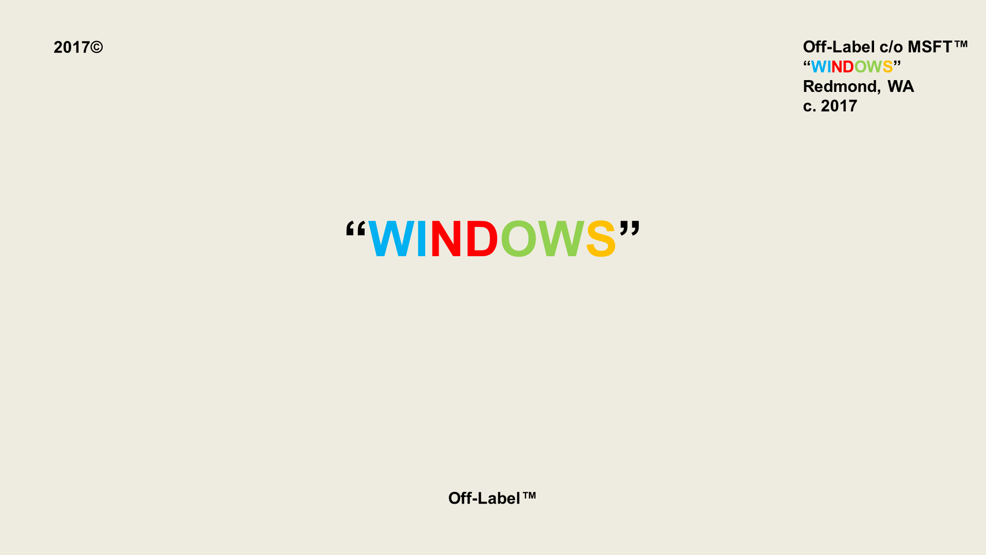 "Virgil Abloh style ""WINDOWS"" 169 Wallpaper Laptop"