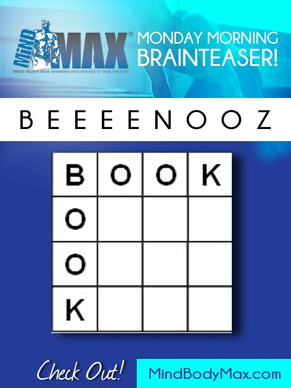 Word puzzle from MindBodyMax... Use letters given to make ...