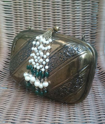 Copper Embossed Clutch Bag with Pearl Tassel