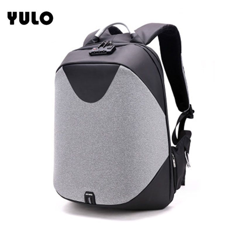 b7c78d7267 YULO Men Laptop Backpacks Patchwork Backpack Anti theft Multifunction USB  Charging Locked Men Waterproof Travel Backpack Zaino