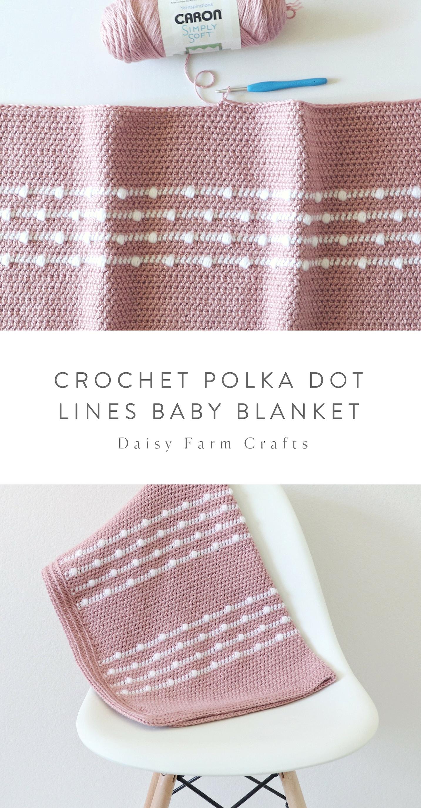 Free Pattern - Crochet Polka Dot Lines Baby Blanket #babyblanket