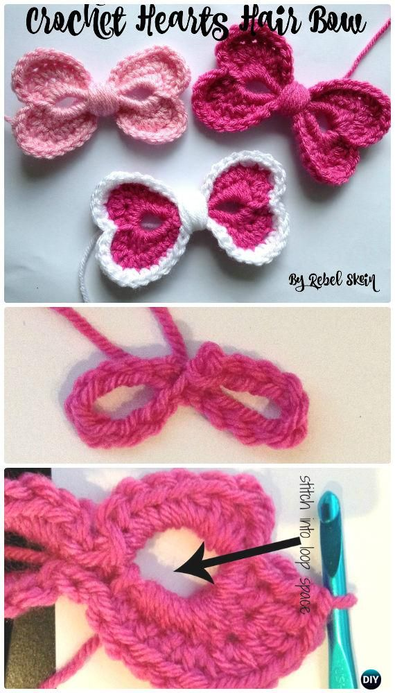 Crochet cuori Nastro per capelli Free pattern - Crochet cuore di San ...