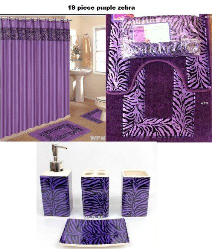 19 Piece Bath Accessory Set Purple Zebra Bathroom Rugs Shower Curtain Accessories Product Description Design Of This Puts A Natural Spin On