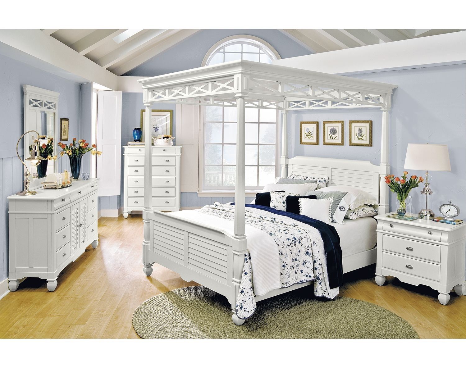 The Plantation Cove White Canopy Collection   Value City ...