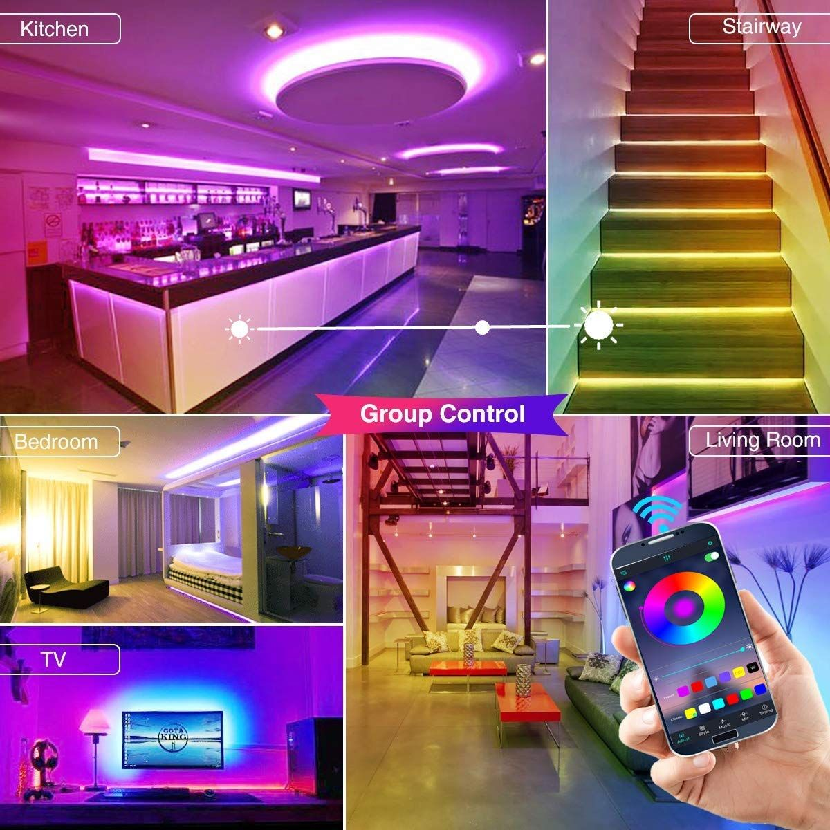 Led Strip Light Sync With Music The App Can Pick Up Music Playing Voice Or Sound And The Light Color Changing Rope Lights Strip Lighting Led Strip Lighting