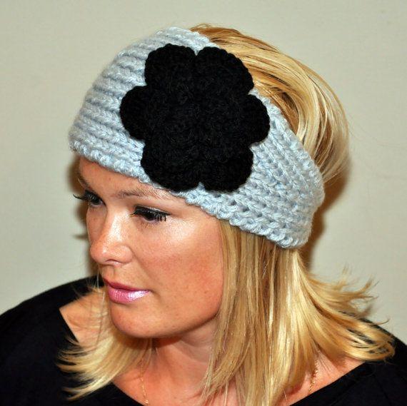 Crochet HEADBAND Ear warmer Head wrap CHOOSE COLOR Flower Hat Warm ...