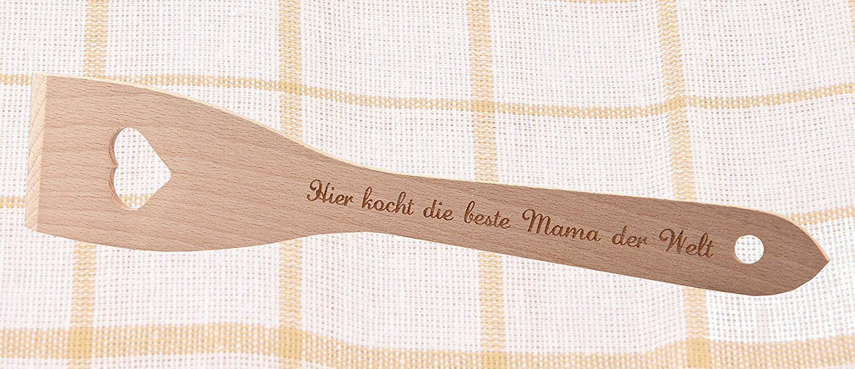 geschenke-fabrik Pfannenwender aus Holz mit Herz / Gravur \