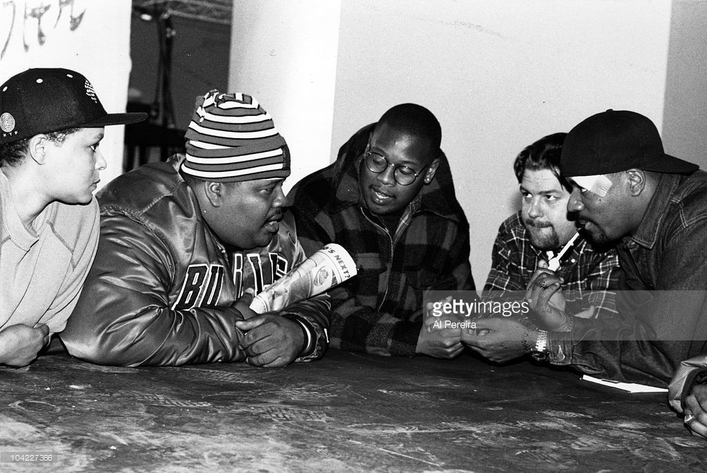 Co-proudcer Maynell Thomas, Dr. Dre, Andre Harrell, director Ted Demme and rapper Ed Lover discuss the 'Who's The Man' Soundtrack in 1989 in New York