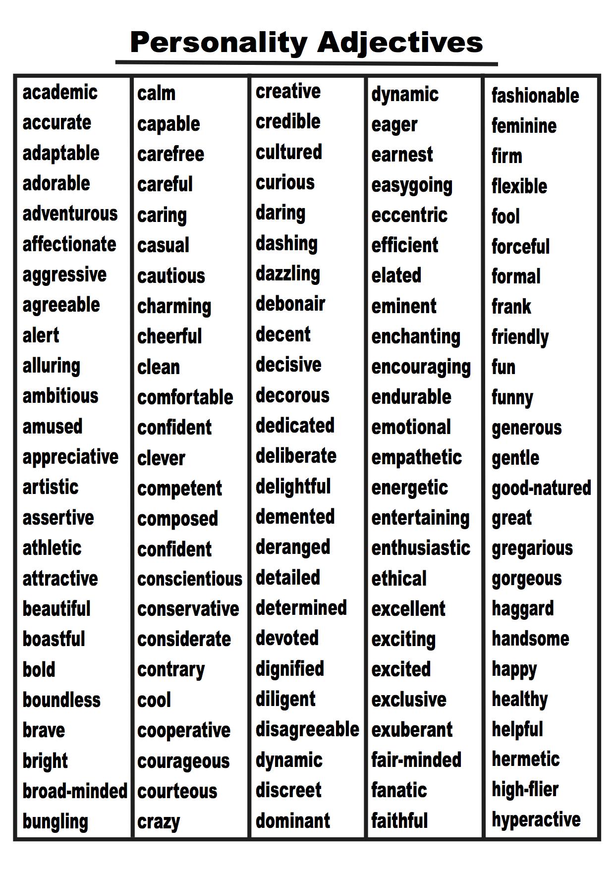 Image Result For Adjectives List