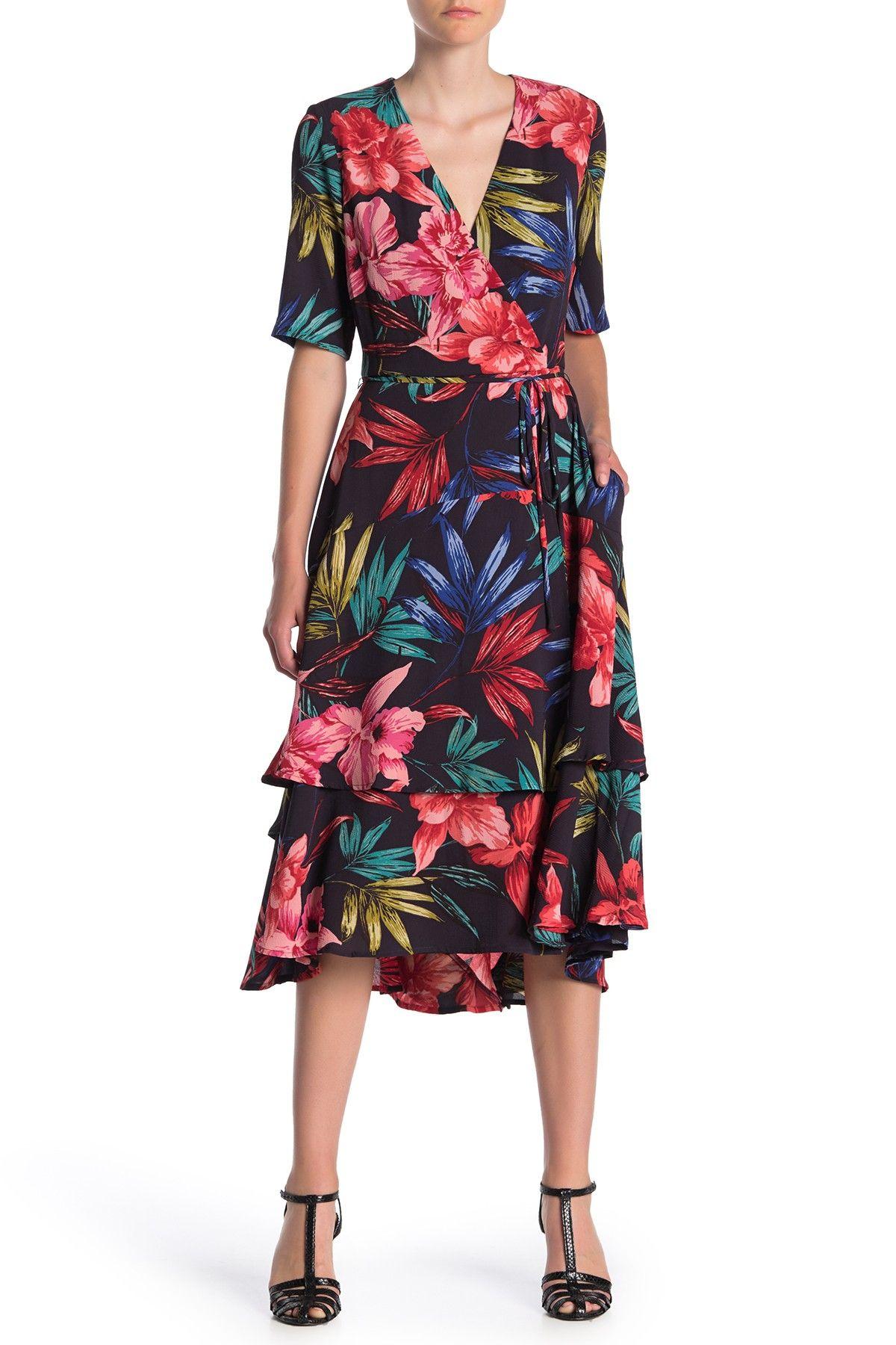 Gabby Skye | Half Sleeve Floral Midi Dress #nordstromrack