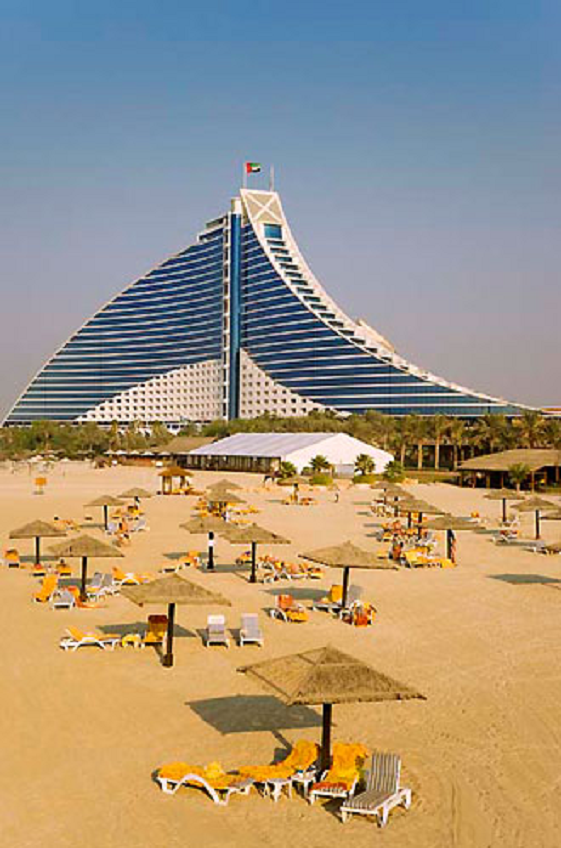 There's definitely a draw to Dubai, with sun, sand, and swanky resorts like this one. Jumeirah Beach Hotel, UAE.