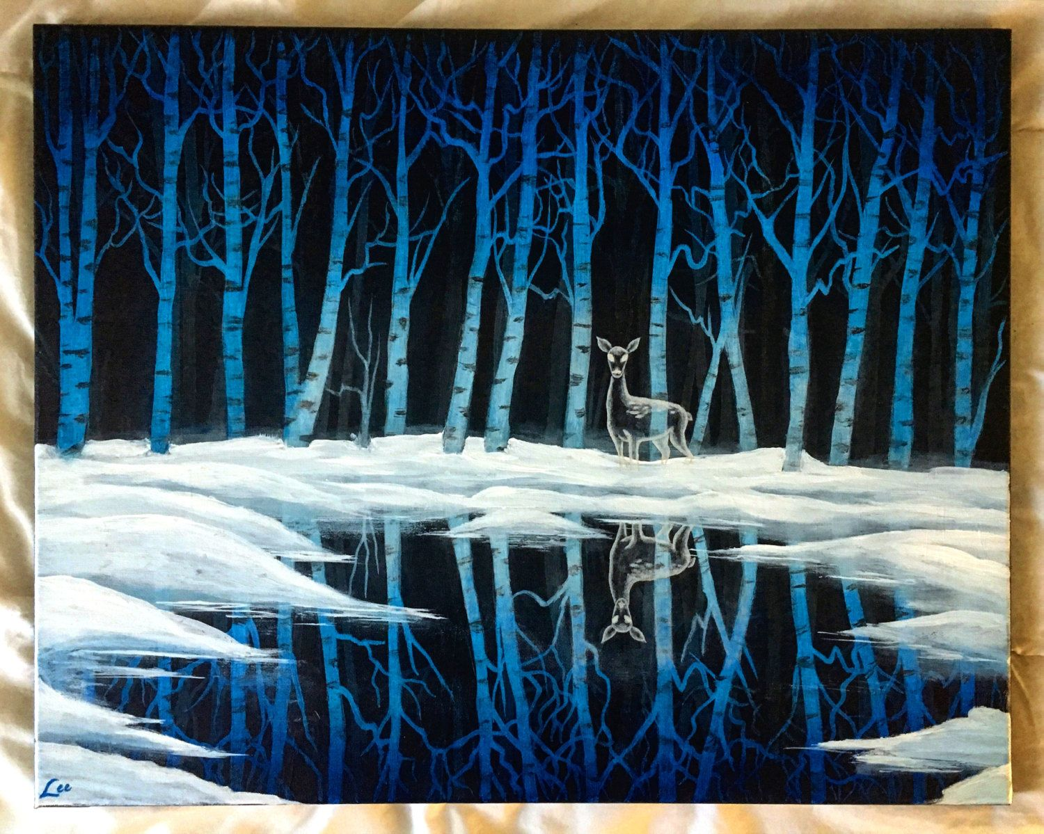 The Forest of Dean Acrylic on canvas, 2016 20 x 16 No 9 in a series  Based on Snow Birch by Bob Ross, Joy of Painting Season 26, Ep 7. Ive added Professor Snapes Doe Patronus. This represents the scene in Harry Potter and The Deathly Hallows when Snapes Doe Patronus leads Harry to the frozen lake that contains the Godric Gryffindors Sword.  And then the source of the light stepped out from behind an oak. It was a silver white doe, moon-bright and dazzling, picking her way over the ground…