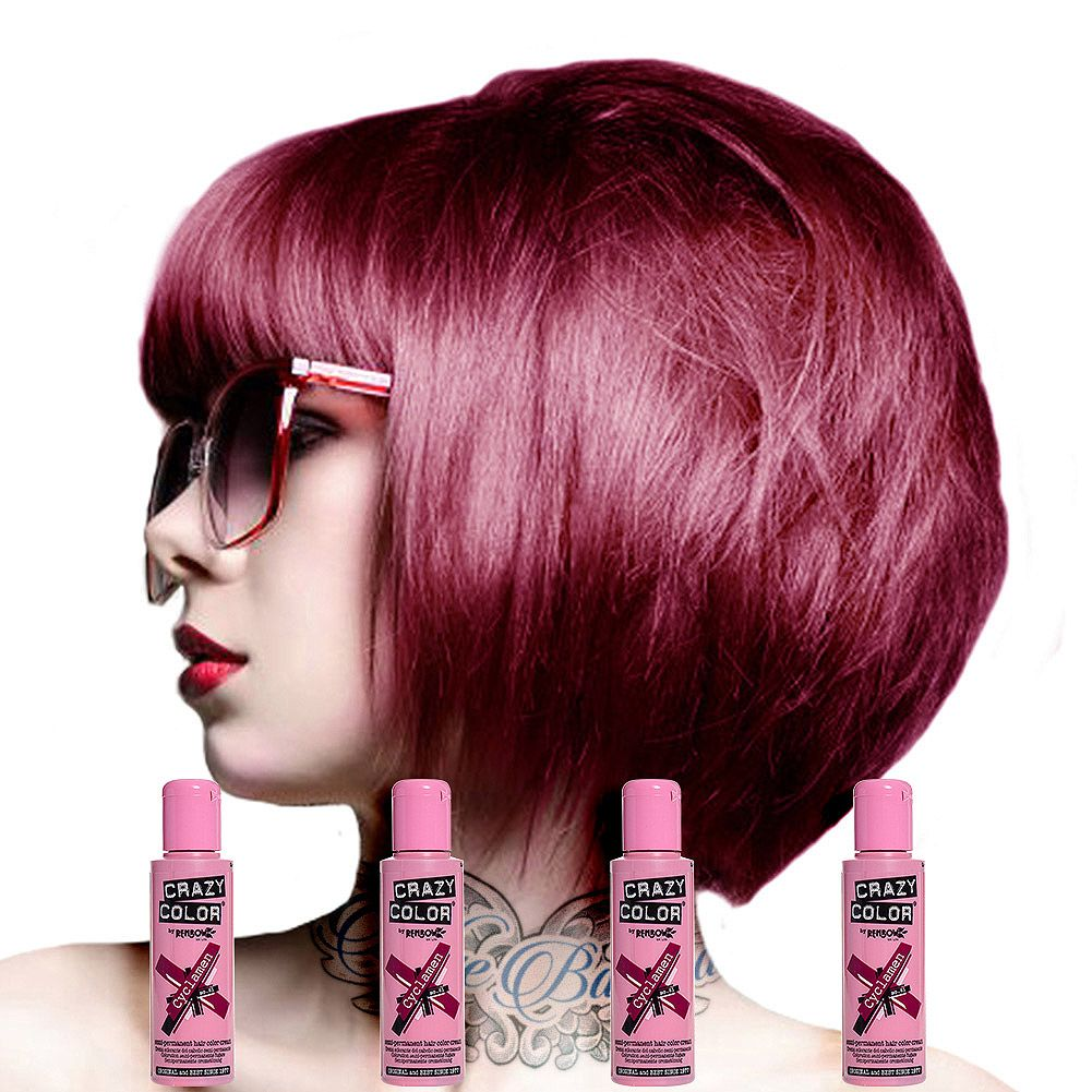 Crazy Color Semi Permanent Hair Dye 4 Pack 100ml Cyclamen Semi