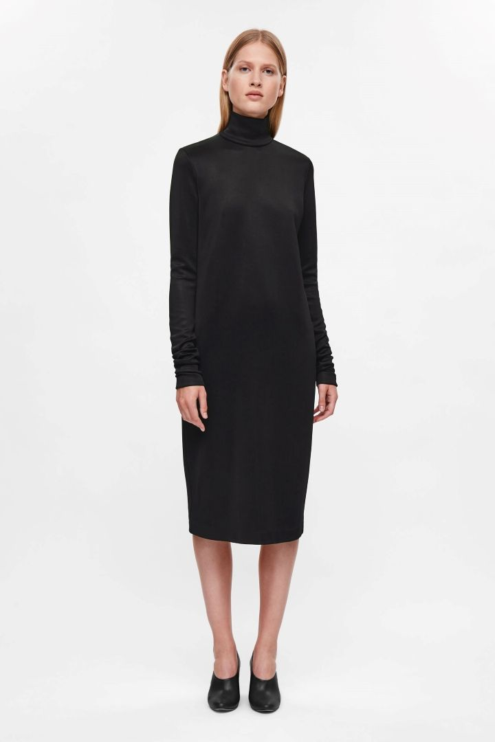 416cd18913c5 COS Long high-neck dress in Black. Black jumper dress | Minimalist jumper  dress | Black turtleneck dress| Minimalist woman | Minimalist style |  Capsule ...