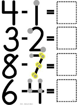 Large Touch Point Subtraction Packet.  Problems are extra large so students with motor problems can count the touch points independently.