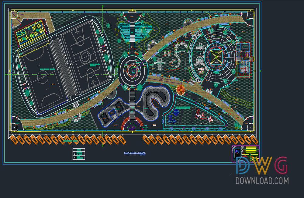 Dwg Download Recreational Park Dwg Project Recreational Parks Parking Design Landscape Architecture Drawing