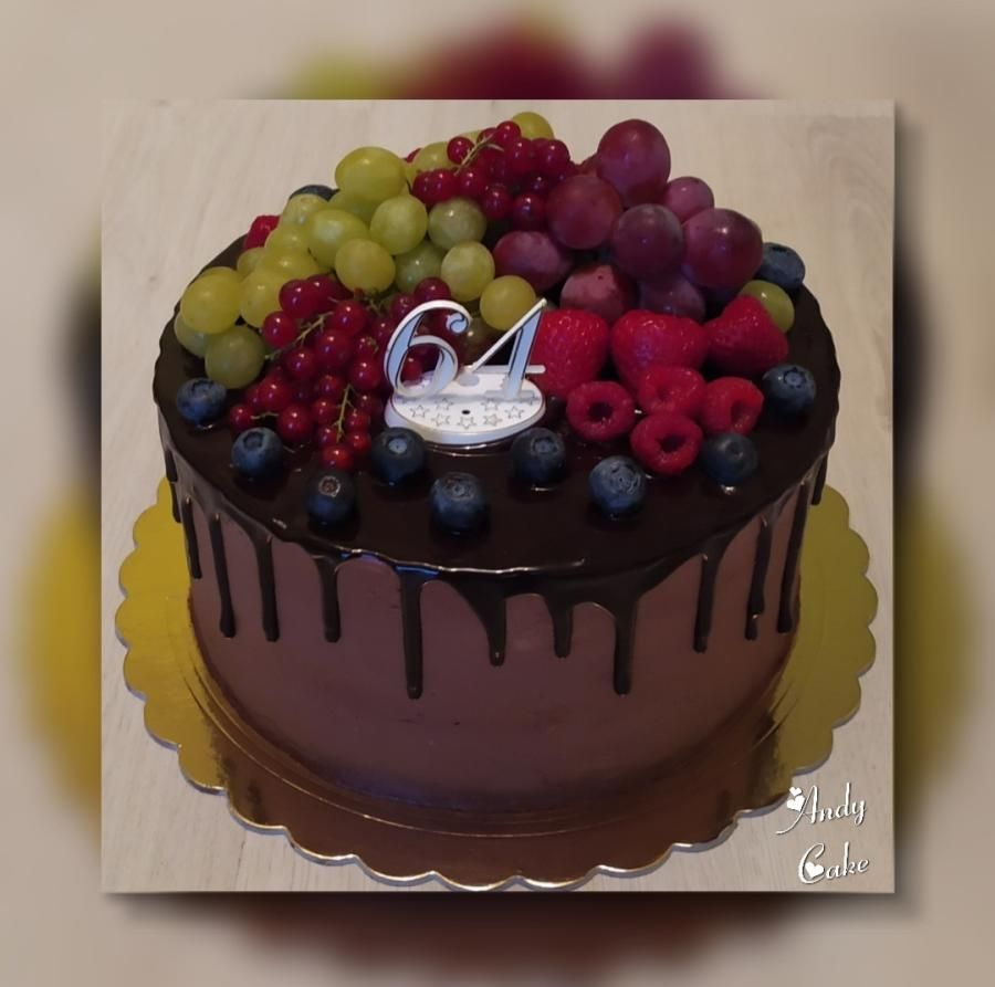 Chocolate birthday cake with fruits by AndyCake in 2020 ...