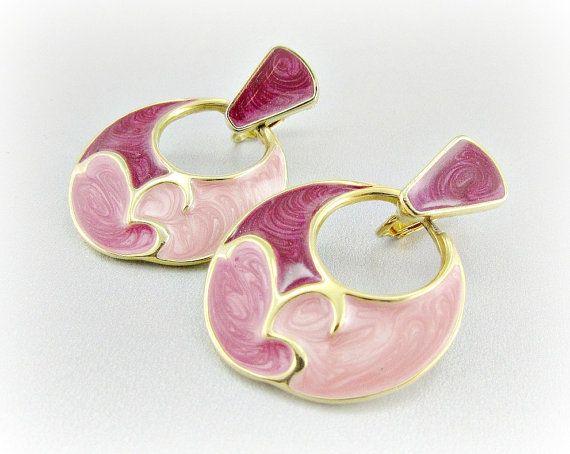 Vintage Big 80s Earrings, Pink Cloisonne Enamel Earrings, Door Knocker Hoop Earrings, Clip-on Earrings, 1980s Retro Modern Costume Jewelry by RedGarnetVintage, $15.00