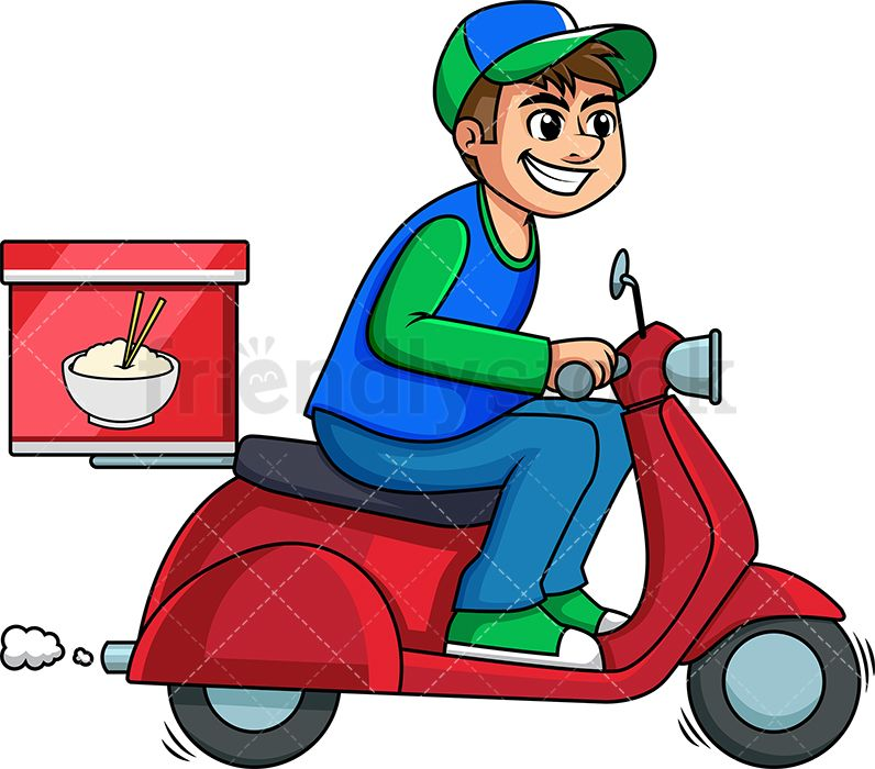 Chinese Food Delivery Guy On A Scooter Pranicka Blahoprani