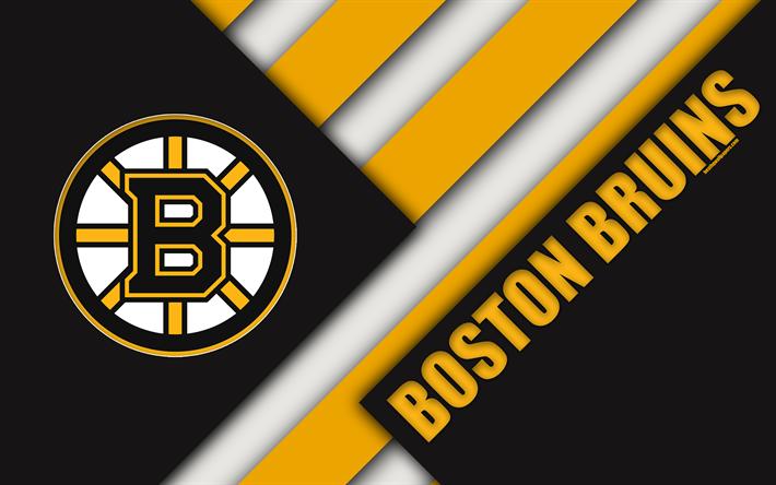 Download Wallpapers Boston Bruins 4k Material Design Black Yellow Abstraction Logo Nhl Lines American Hockey Club Boston Massachusetts Usa National H Boston Bruins Boston Bruins Wallpaper Boston