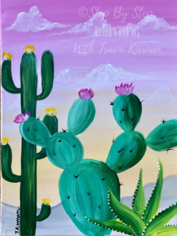 "Easy Cactus Painting ""Desert Golden Hour"" Easy Cac"