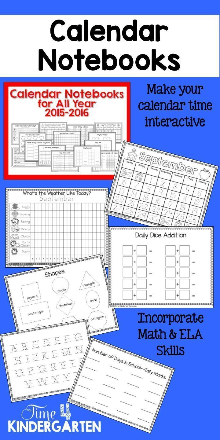 Kindergarten Daily Calendar Notebook : Interactive calendar notebooks for all year
