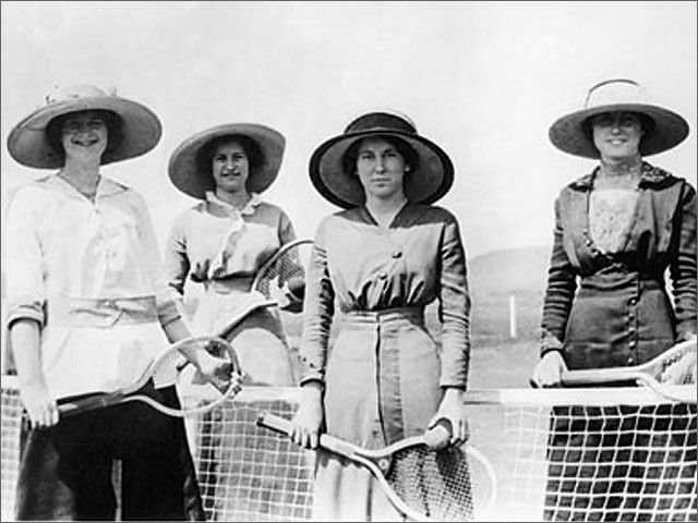 Four Edwardian women enjoying an outdoor game of tennis. #vintage #Edwarian #women #sports