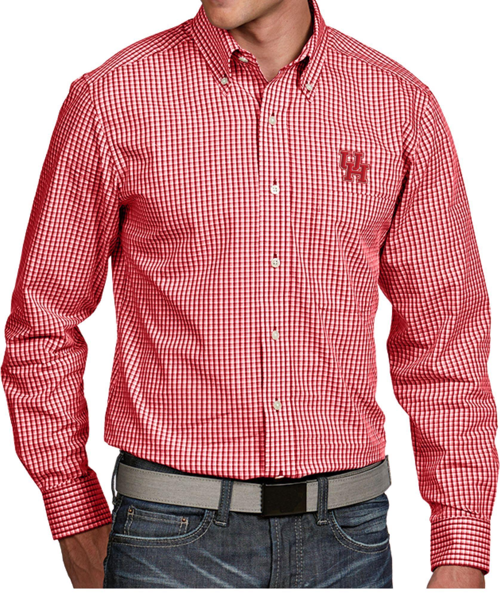 8bac22300 Antigua Men s Houston Cougars Red Associate Button Down Long Sleeve Shirt