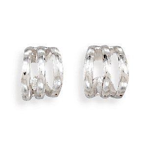 Sterling Silver 3 Row Polished Ear Cuff