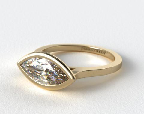 14K Yellow Gold Bezel Solitaire Engagement Ring Marquise Center