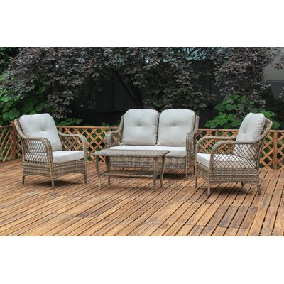 Lark Manor Carly 4 Piece Rattan Sofa Seating Group With Cushions