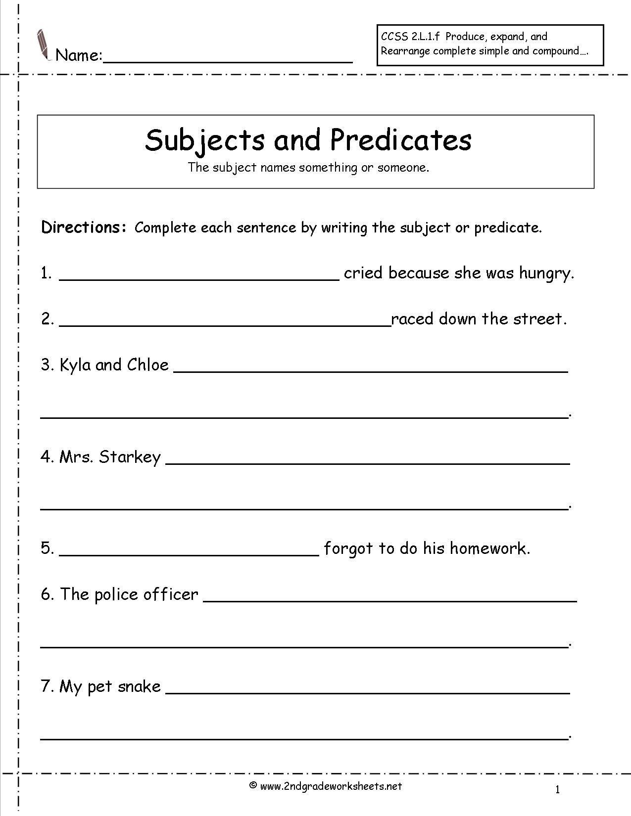 Compound Sentences Worksheet Subject And Predicate