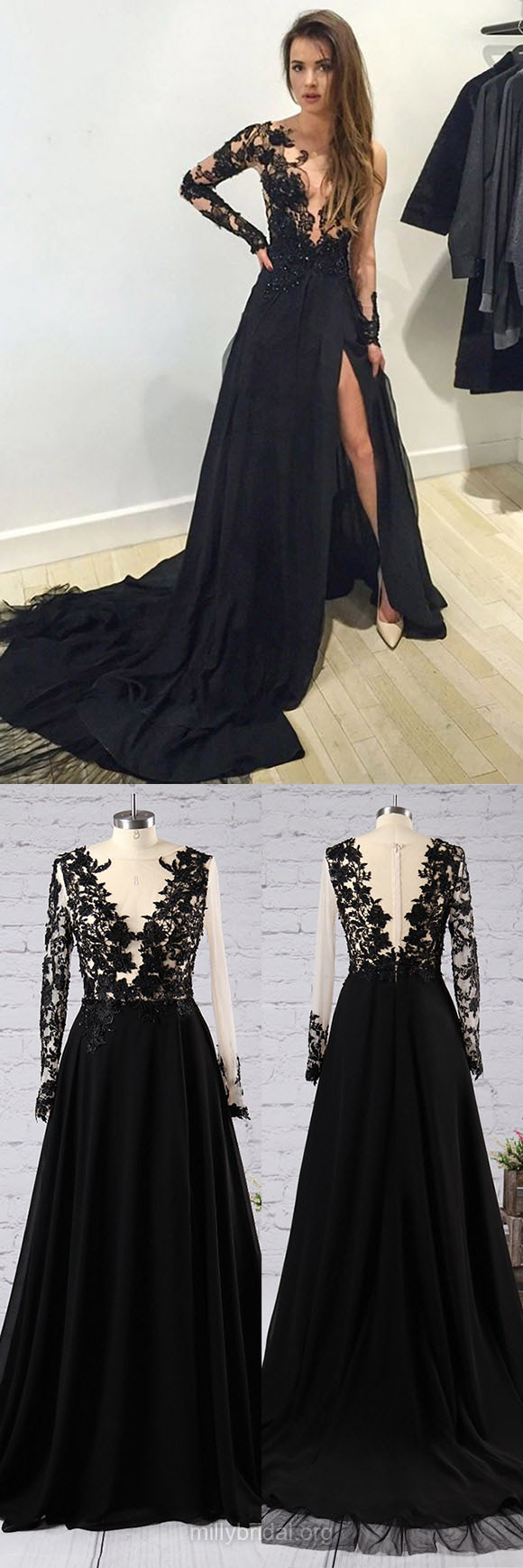 Cheap long prom dressesscoop neck tulle evening dressescourt train