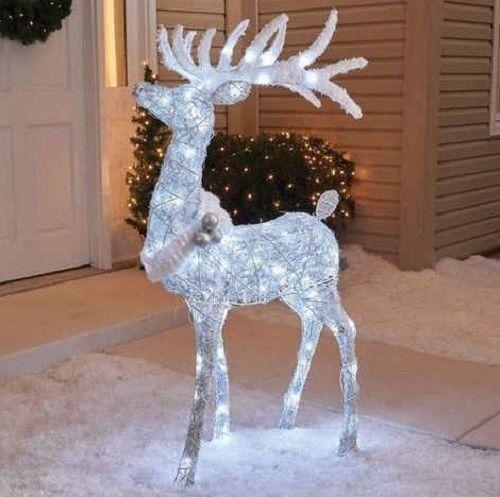 Outdoor 48 Cool White Twinkling Buck Deer Christmas Yard Rozhdestvenskie Ukrasheniya Dvora Ulichnye Rozhdestvenskie Ukrasheniya Rozhdestvenskij Dekor